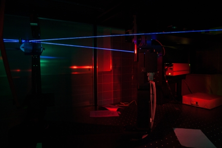 Lasers in a quantum optics lab photo