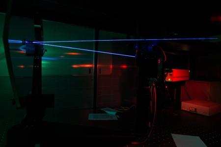 quantum: Lasers in een quantum optica lab Stockfoto