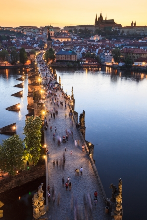 View of Vltava river with Charles bridge in Prague, Czech republic photo