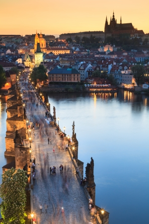 vltava: View of Vltava river with Charles bridge in Prague, Czech republic