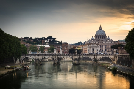 peters: Panoramic view of St. Peters Basilica and the Vatican City (with the river Tiber winding around it) - Rome, Italy (color toned image)