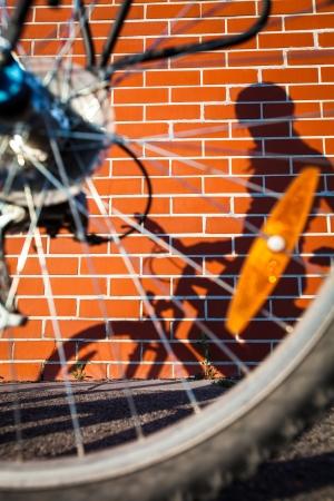 Female biker!s shadow Stock Photo - 18592593