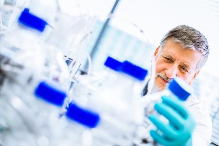 Senior male Forscher Durchführung wissenschaftlicher Forschung in einem Labor (shallow DOF; Farbe getönt Bild)