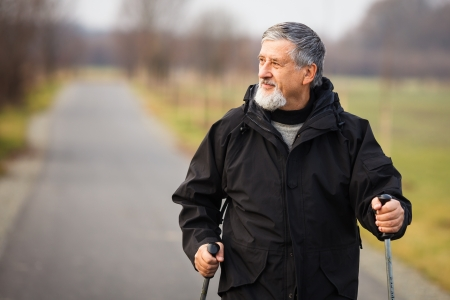 Senior man nordic walking, enjoying the outdoors Stock Photo - 18907165