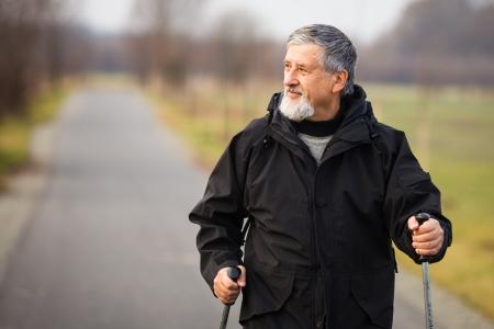 Senior man nordic walking, enjoying the outdoors Stock Photo - 18907165