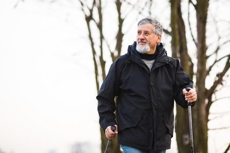 Senior man nordic walking, enjoying the outdoors Stock Photo - 18907161