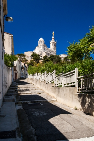 garde: View of Notre-Dame de la Garde basilica in Marseille, southern France Editorial