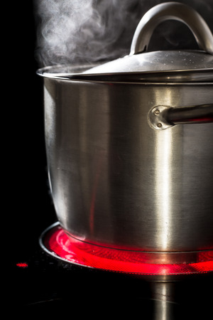 Slowfood - Lovely homemade dish being prepared in steaming pot on kitchen stove photo