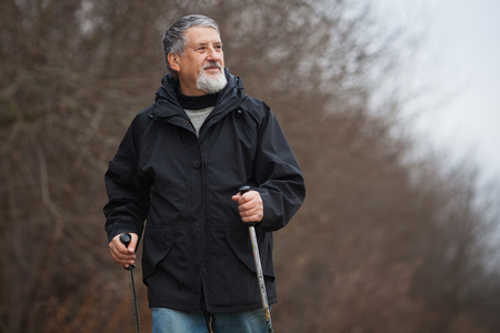 Senior man nordic walking, enjoying the outdoors, the fresh air, getting the necessary exercise Stock Photo - 25783215