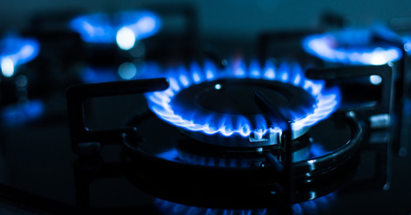 FLames of gas stove (shallow DOF) Stock Photo - 26348976