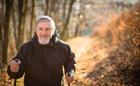 Älterer Mann, Nordic Walking, genießen die Natur, die frische Luft, immer die notwendige Übung