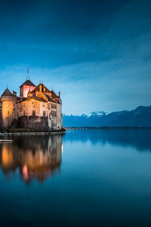 convict lake: The Chillon Castle at the Lake Geneva