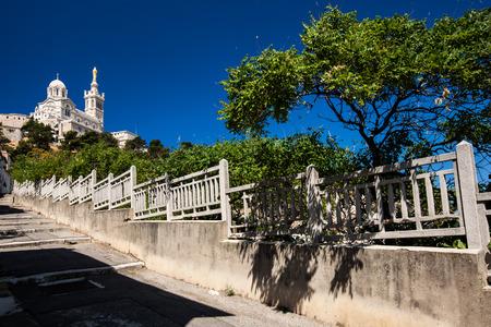 garde: View of Notre-Dame de la Garde basilica in Marseille, southern France Stock Photo