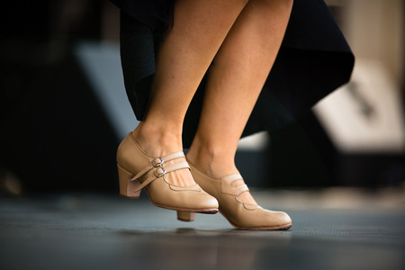 profundity: Dancers performing Argentinian tango - legs close-up Stock Photo