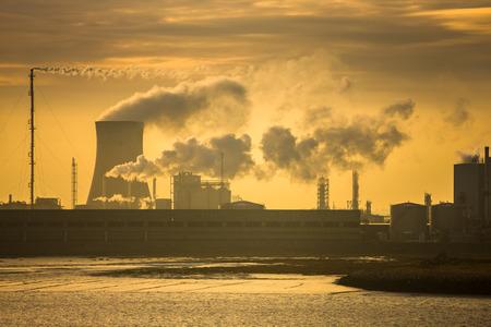 emissions: Power plant at sunrise