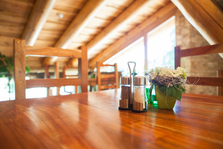 homey: Cosy wooden restaurant - mountain chalet Stock Photo