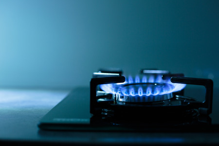 gas stove: FLames of gas stove (shallow DOF)