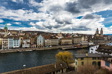 grossmunster cathedral: Zurich cityscape Editorial