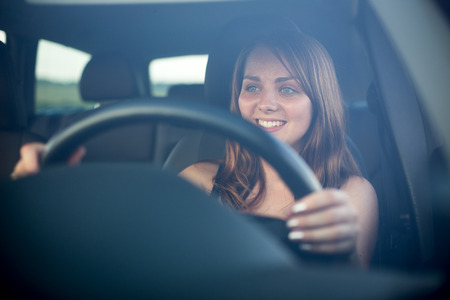 inexperienced: Cute teenager driving her brand new car