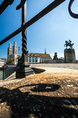 grossmunster cathedral: Zurich cityscape Stock Photo