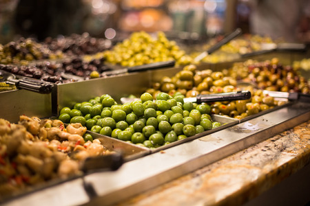 israel agriculture: Olives on saledisplay in a food marketgrocery store Stock Photo
