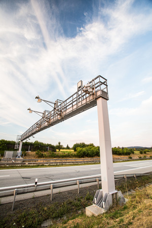 toll: Toll gate on a highway Stock Photo