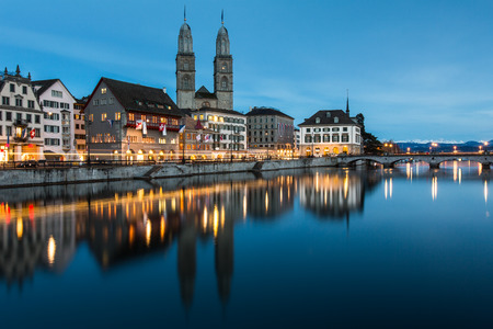 city center: Zurich cityscape - nightshot