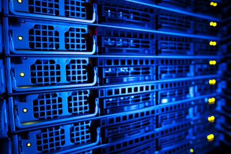 database server: Server rack cluster in a data center (shallow DOF; color toned image)