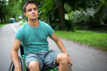 Young man in a wheelchair Zdjęcie Seryjne