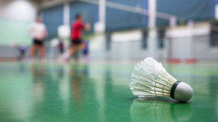 badminton racket: Badminton - badminton courts with players competing