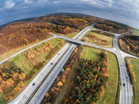 aerial view: Aerial view of a road junction Stock Photo
