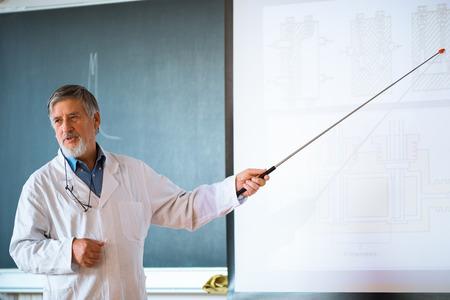教室の生徒の前で講演を行う上級化学教授 写真素材 - 47529874