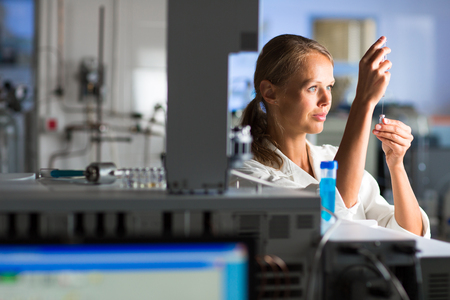 laboratory research: Portrait of a female researcher doing research in a lab Stock Photo