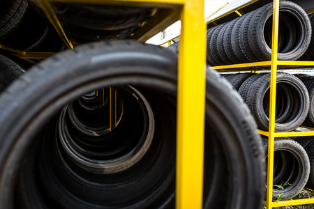 tire tread: Tires for sale at a tire store