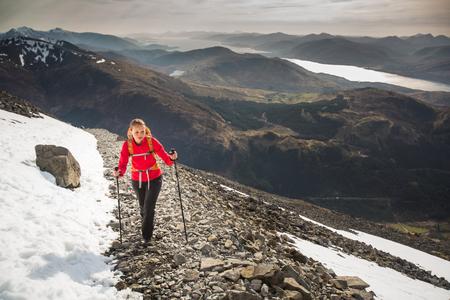 Prety female hiker Stock Photo
