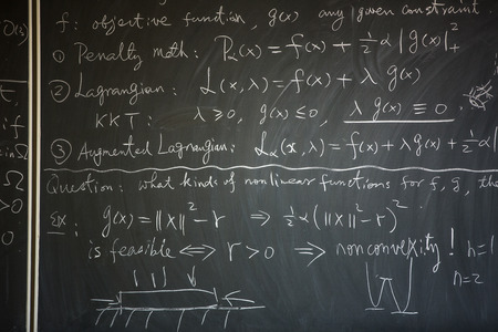 lesson: Blackboard with math lesson written on it