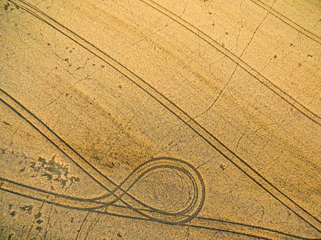 fertile land: Farmland from above - aerial image of a lush green filed and a small country road with a car