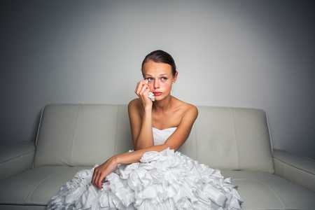 emotional woman: Sad bride crying, smitten, feeling low and depressed Stock Photo