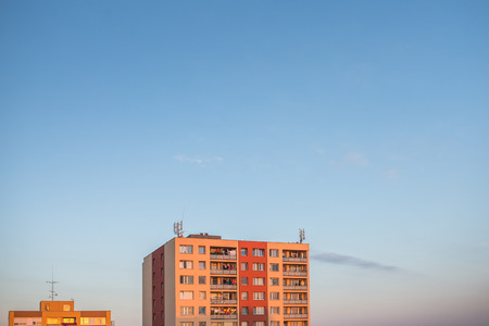 live work city: Residential housing in a city - housing project with plenty of sky as ample copy space