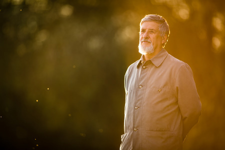 full lenght: Portrait of a senior man outdoors, walking in a park, full lenght portrait (shallow DOF; color toned image) Stock Photo