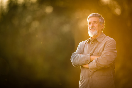 (浅い; トーン カラー画像) 公園を歩いて年配の男性の屋外でのポートレート 写真素材