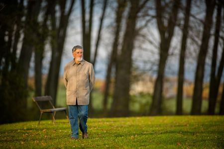 Portrait of a senior man outdoors, walking in a park (shallow DOF; color toned image) Stock Photo