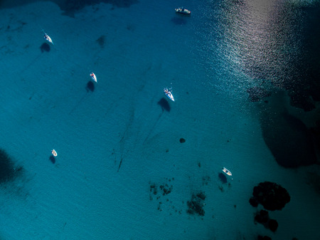 aerial view: Aerial view of boats in a splendid cove in Corsica