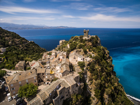 corse: Aerial view of the beautiful village of Nonza, in Cap Corse, Corsica, France