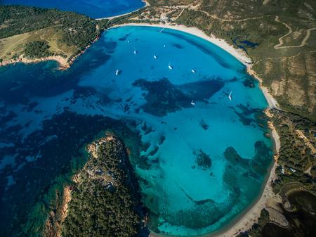 splendid: Aerial View of the Splendid Rondinara Beach, Corsica, France Stock Photo