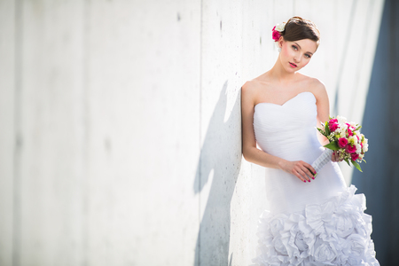 penthouse: Gorgeous bride on her wedding day (color toned image; shallow DOF)