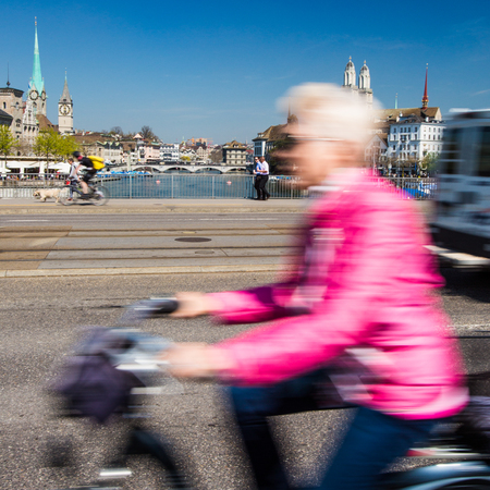 grossmunster cathedral: Zurich cityscape with motion blurred city traffic