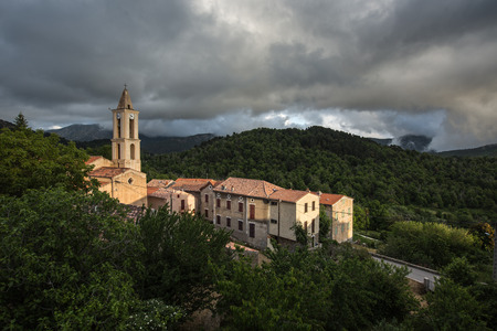 separatist: View of a mountain village in Corsica. (village of Evisa)