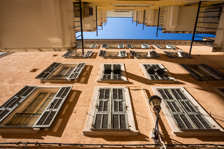 Houses with large windows in Bastia, Corsica