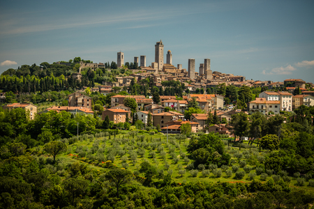heart very: In the very heart of Tuscany - Aerial view of the medieval town of Montepulciano, Italy